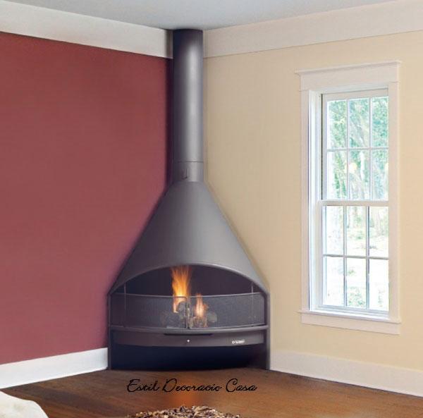 chemin e en angle avec foyer ouvert pour mieux profiter du feu en direct. Black Bedroom Furniture Sets. Home Design Ideas
