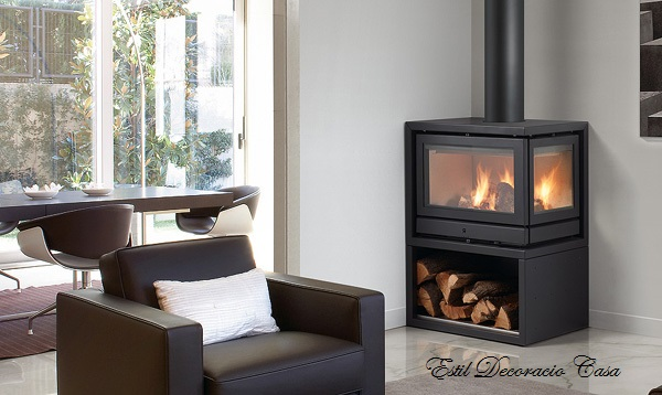 chemin e m tal de face avec une vue du feu sur 3 c t s. Black Bedroom Furniture Sets. Home Design Ideas