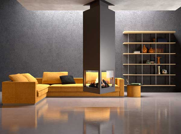 chemin e centrale suspendue pour admirer un feu en suspension. Black Bedroom Furniture Sets. Home Design Ideas