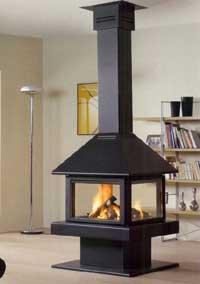 cheminée feu au centre