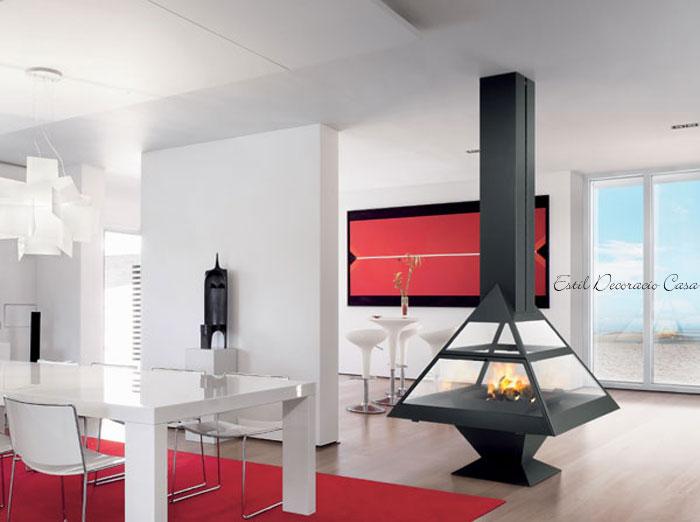 chemin e avec foyer central gaz pour voir le feu sur 360. Black Bedroom Furniture Sets. Home Design Ideas