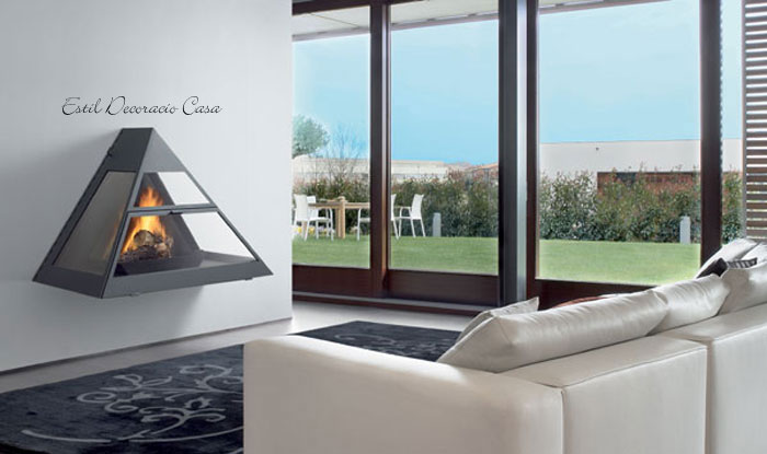 chemin e gaz suspendue de face avec une superbe vue du feu prix r duit. Black Bedroom Furniture Sets. Home Design Ideas